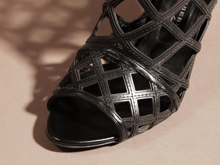 Schwarz Stiefeletten aus Leder mit Aussparungsdetail Schwarz - cell image 1