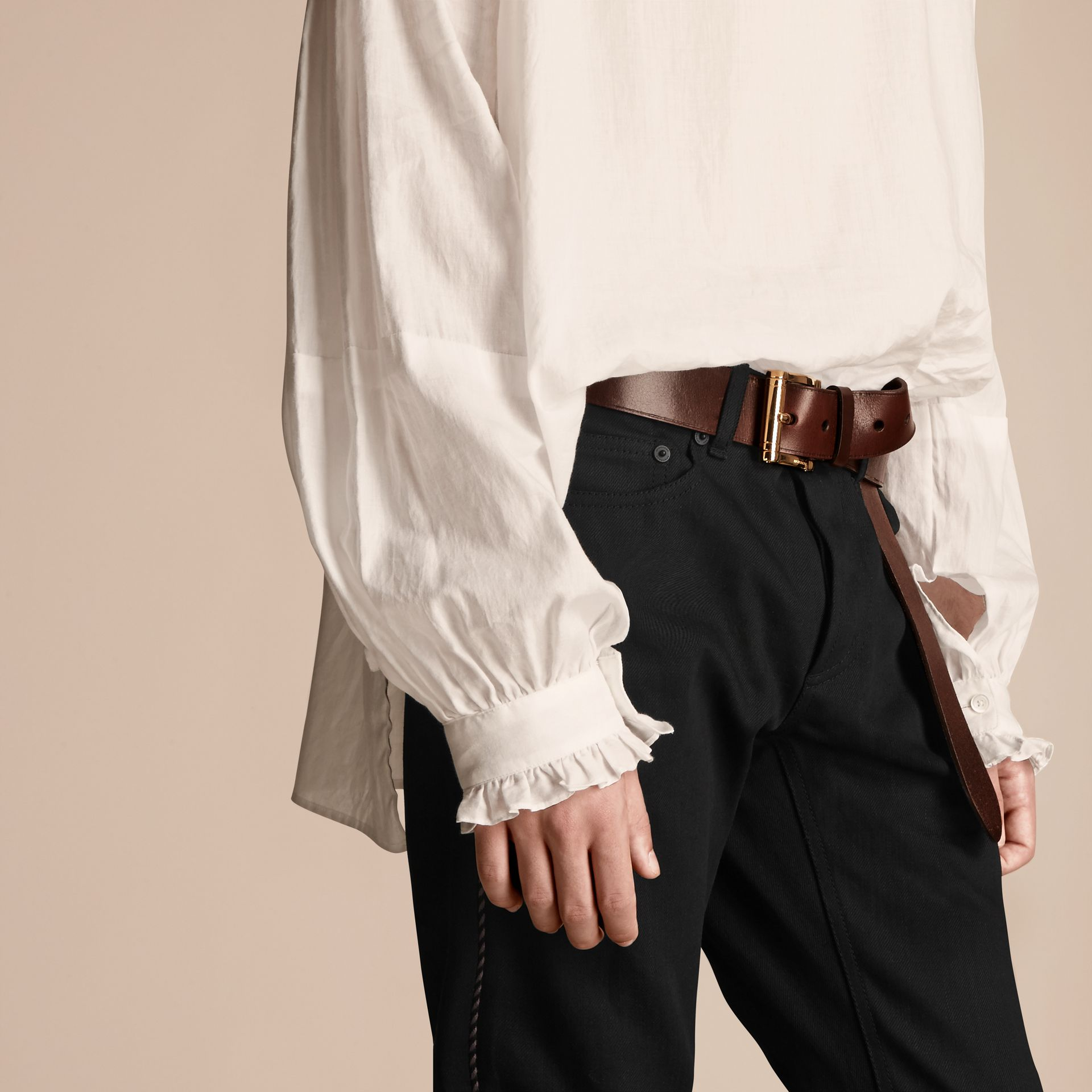 White Ruffle Detail Cotton Voile Tunic - gallery image 6