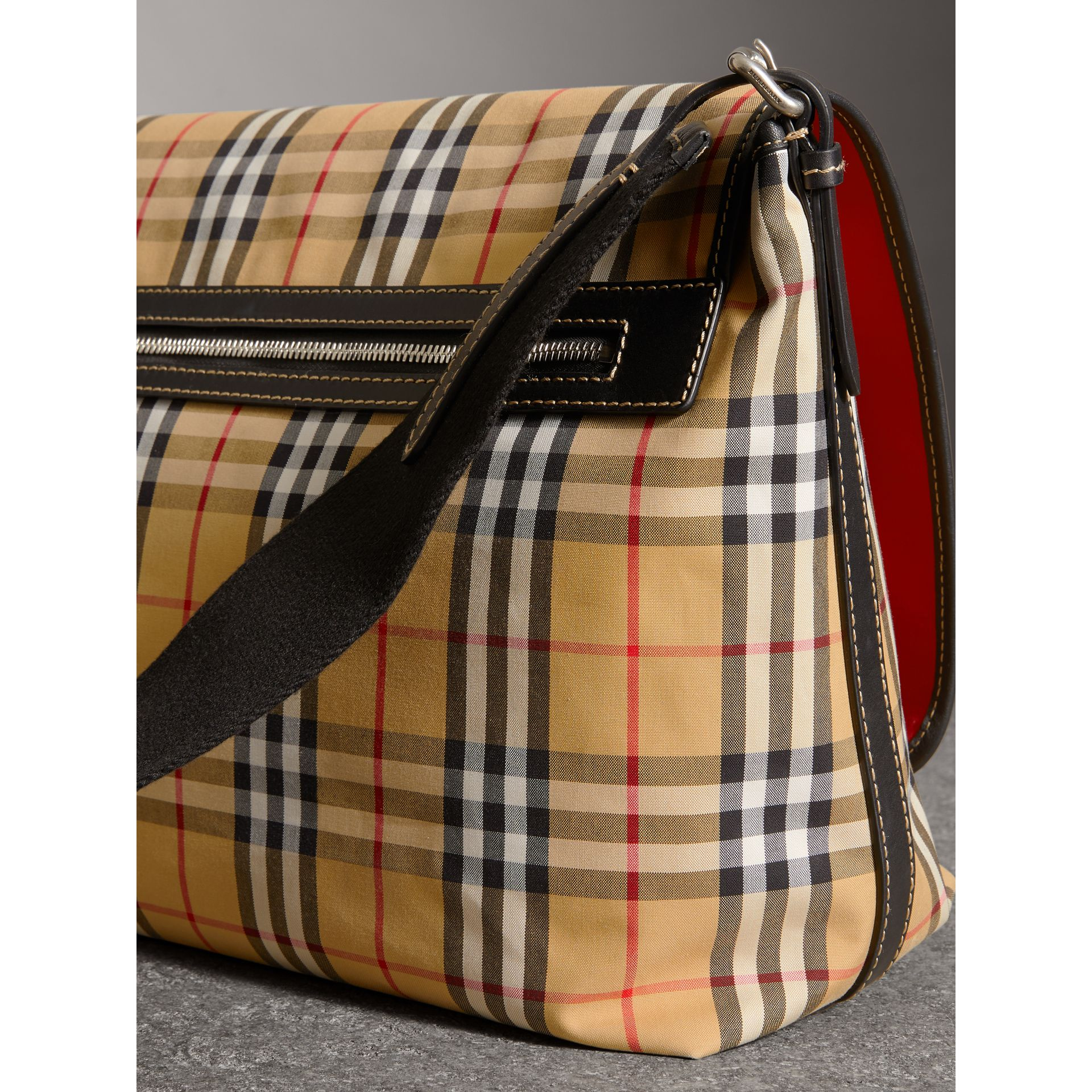 Large Leather Trim Vintage Check Messenger Bag in Antique Yellow/military Red - Men | Burberry - gallery image 4