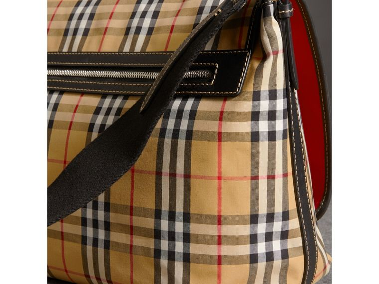 Large Leather Trim Vintage Check Messenger Bag in Antique Yellow/military Red - Men | Burberry - cell image 4