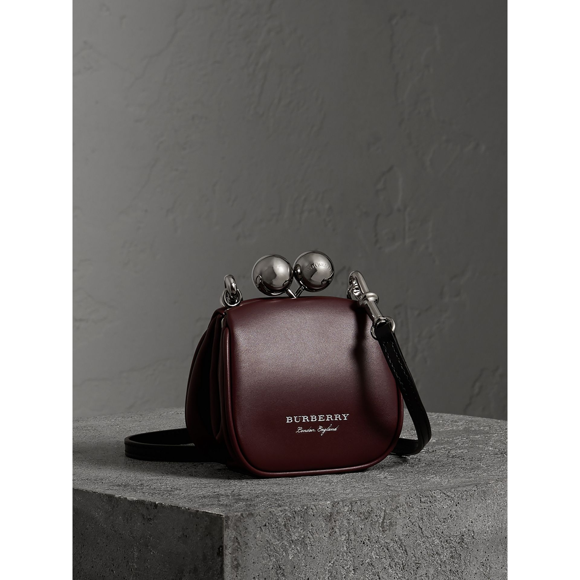 Mini Two-tone Leather Frame Bag in Burgundy - Women | Burberry - gallery image 6