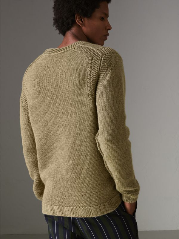 Link Stitch Detail Cashmere Sweater in Clay Green - Men | Burberry - cell image 2