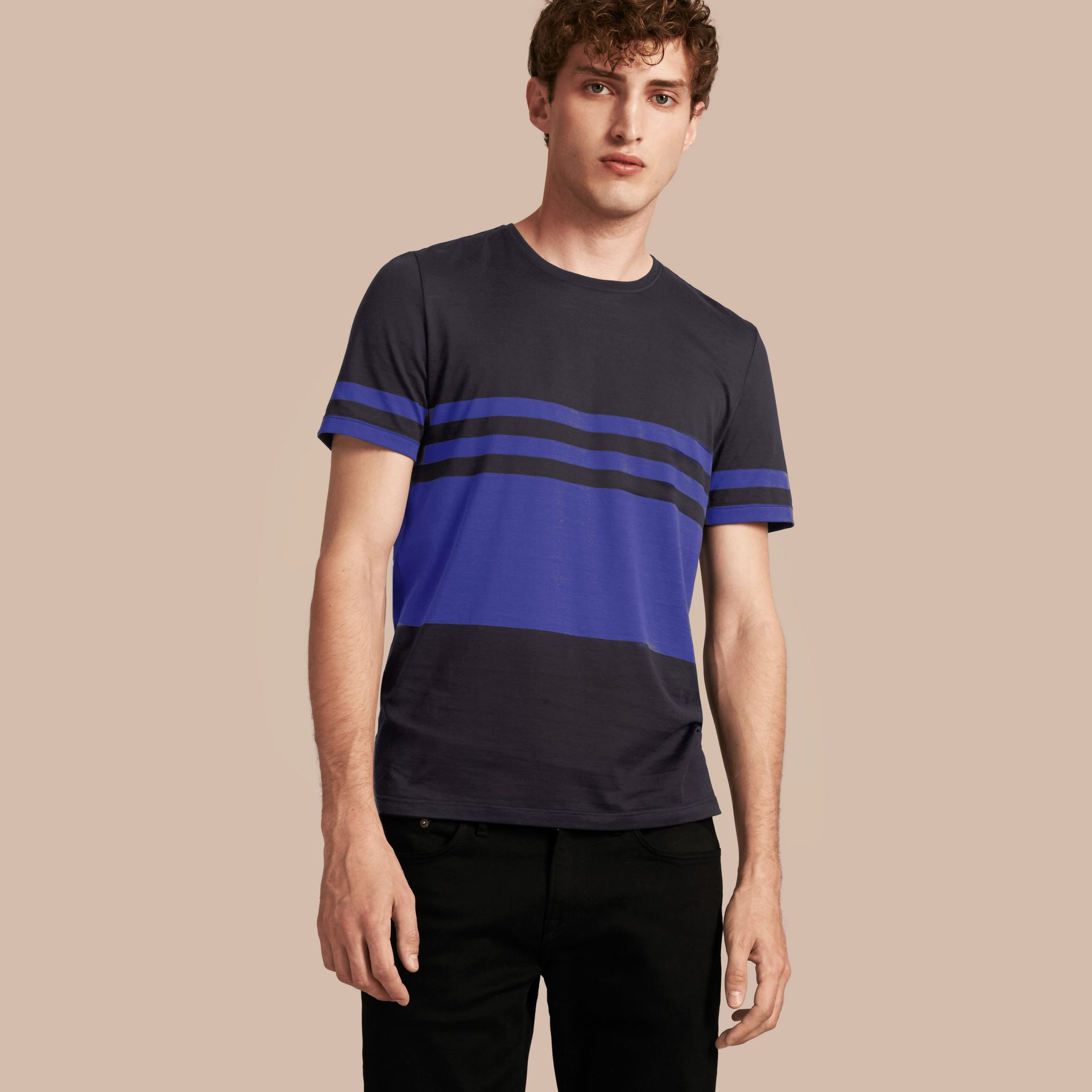 Navy Stripe Print Cotton T-shirt Navy - gallery image 1