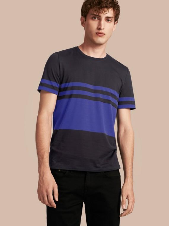 Stripe Print Cotton T-shirt