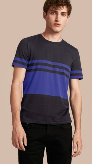 Stripe Print Cotton T-shirt