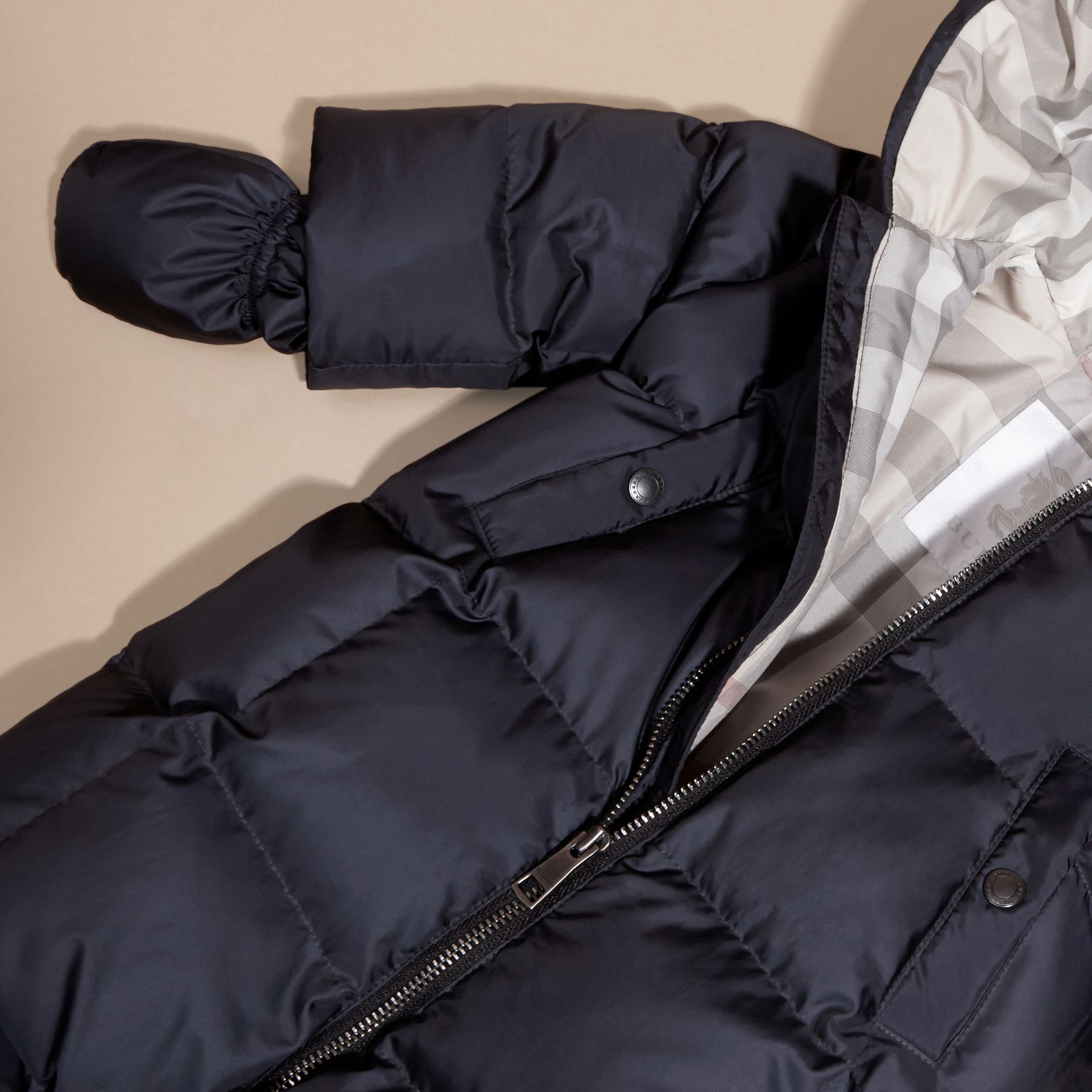 Down-filled Puffer Suit in Navy - gallery image 2