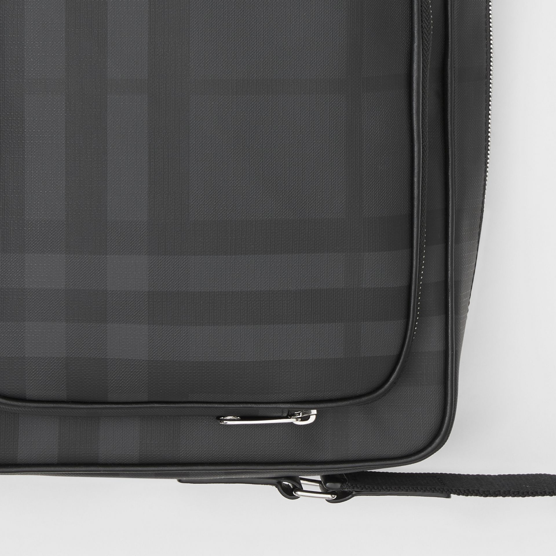 London Check and Leather Messenger Bag in Dark Charcoal - Men | Burberry Singapore - gallery image 1