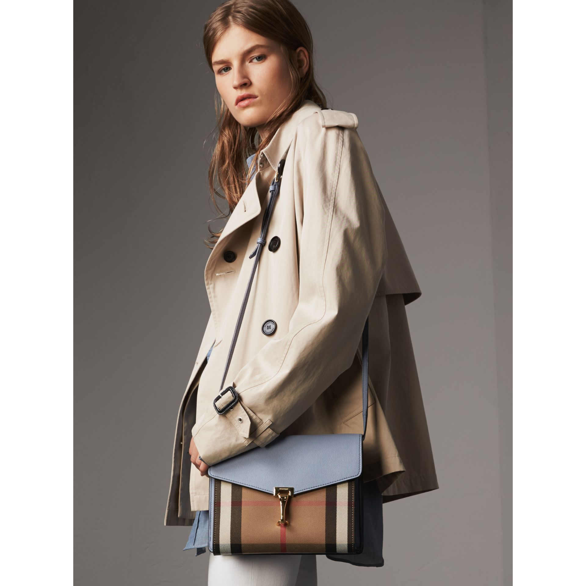 Small Leather and House Check Crossbody Bag in Slate Blue - Women | Burberry Australia - gallery image 2