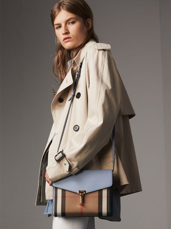 Small Leather and House Check Crossbody Bag in Slate Blue - Women | Burberry Australia - cell image 2