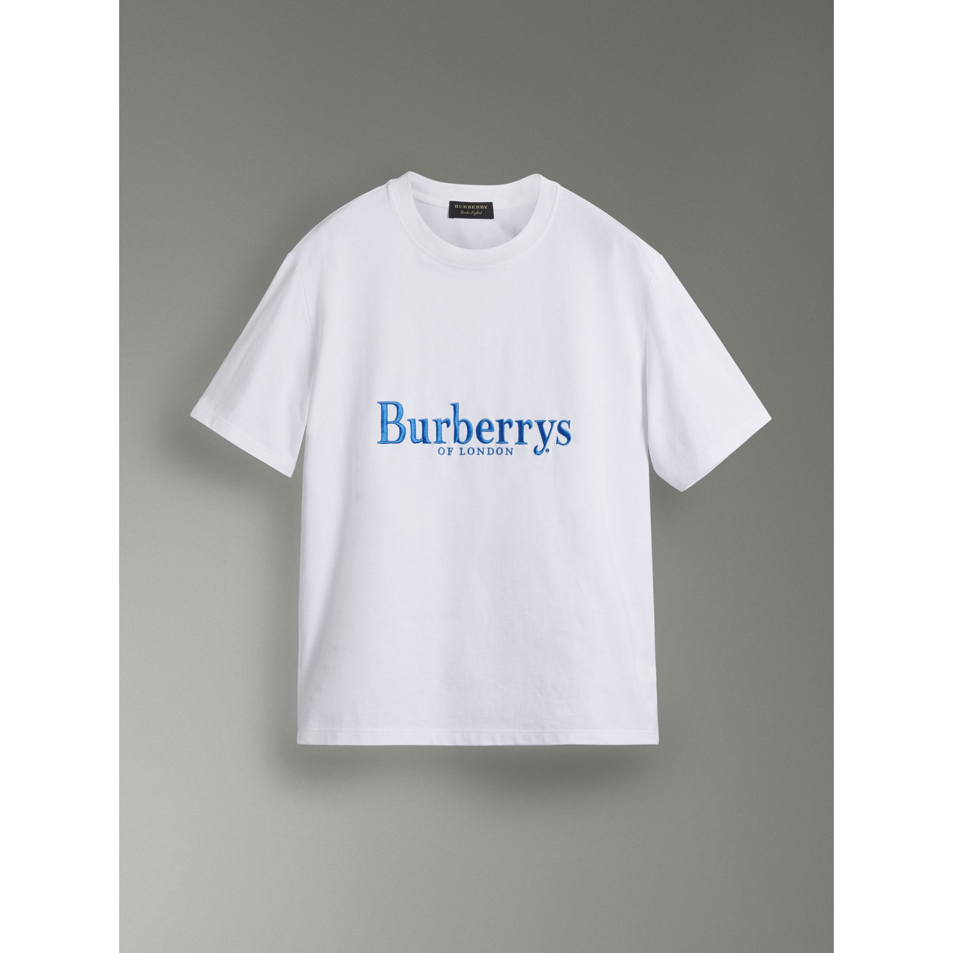 reissued cotton t shirt in white men burberry united. Black Bedroom Furniture Sets. Home Design Ideas