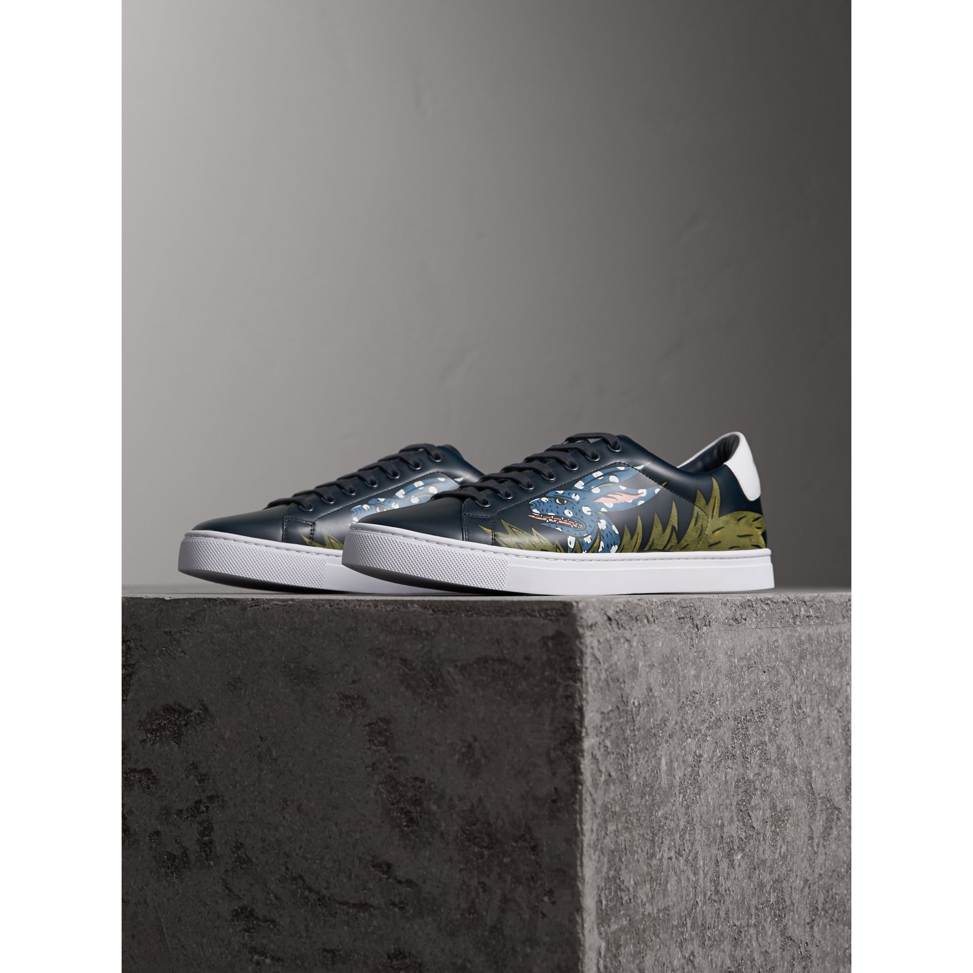 Beasts Print Leather Trainers in Navy - Men | Burberry - gallery image 4