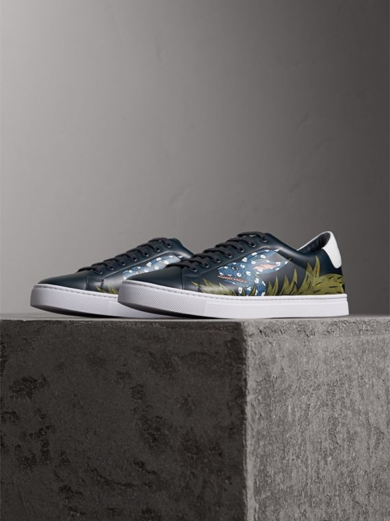 Beasts Print Leather Trainers in Navy | Burberry - cell image 3