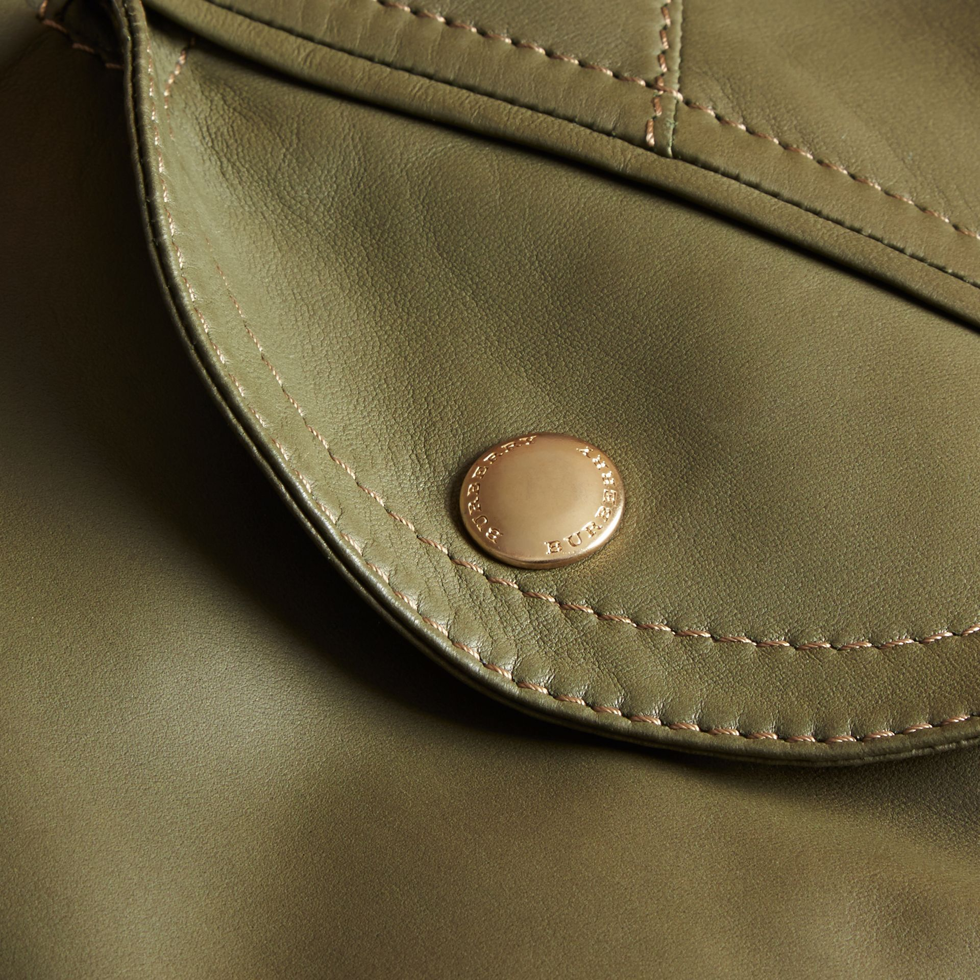 Light military green Lambskin Bomber Jacket - gallery image 2