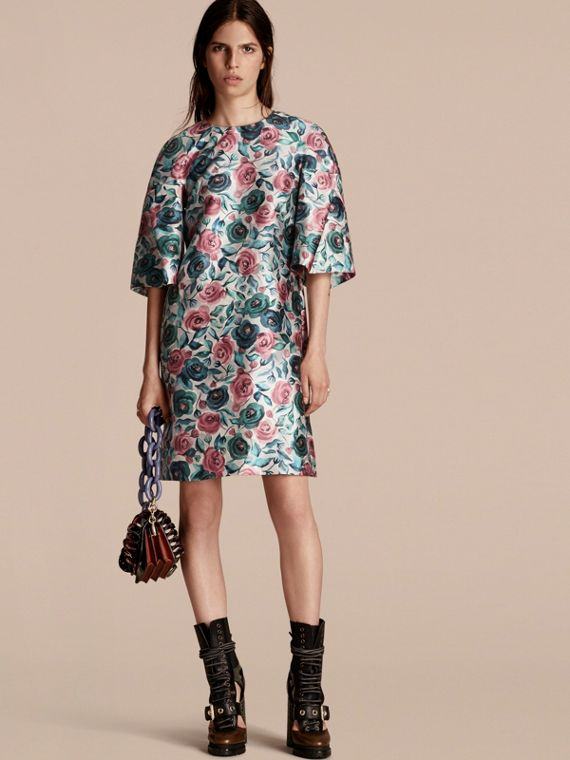Watercolour Rose Print Sculptural Cotton Silk Dress