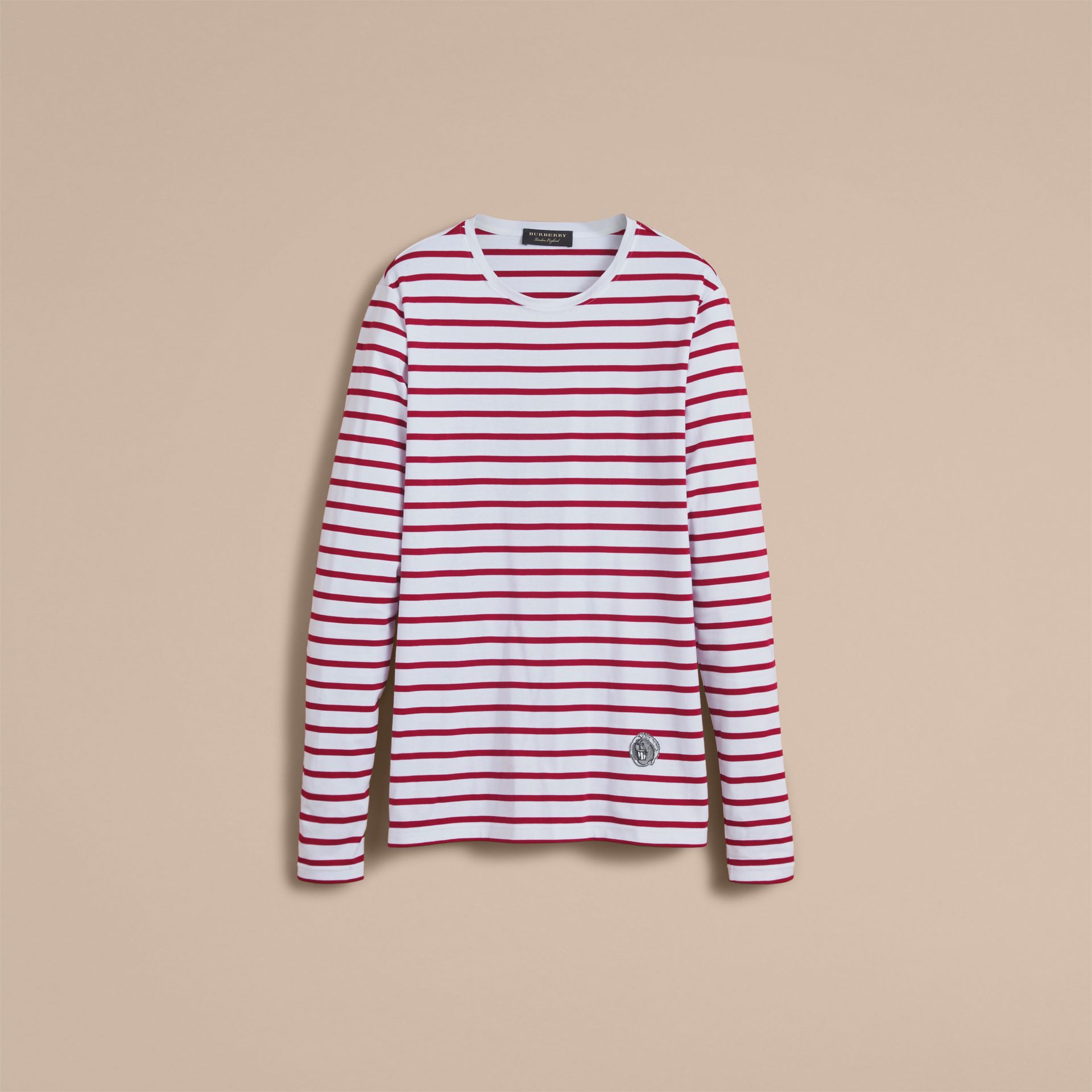 Unisex Pallas Heads Motif Breton Stripe Cotton Top in Parade Red - Men | Burberry - gallery image 3