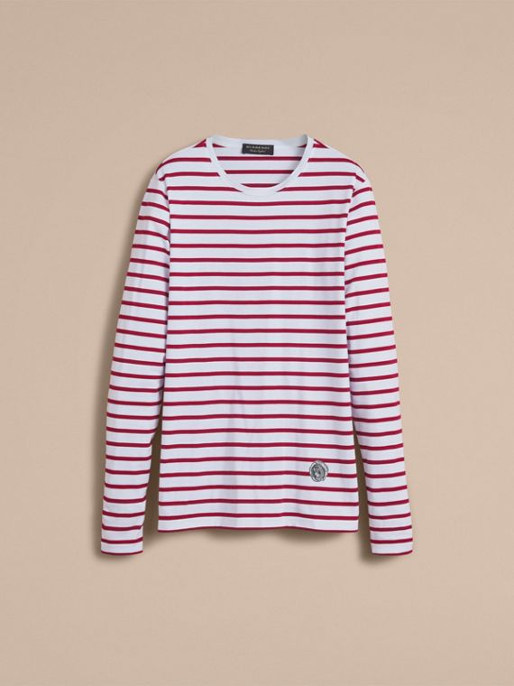 Unisex Pallas Heads Motif Breton Stripe Cotton Top in Parade Red - Men | Burberry - cell image 3