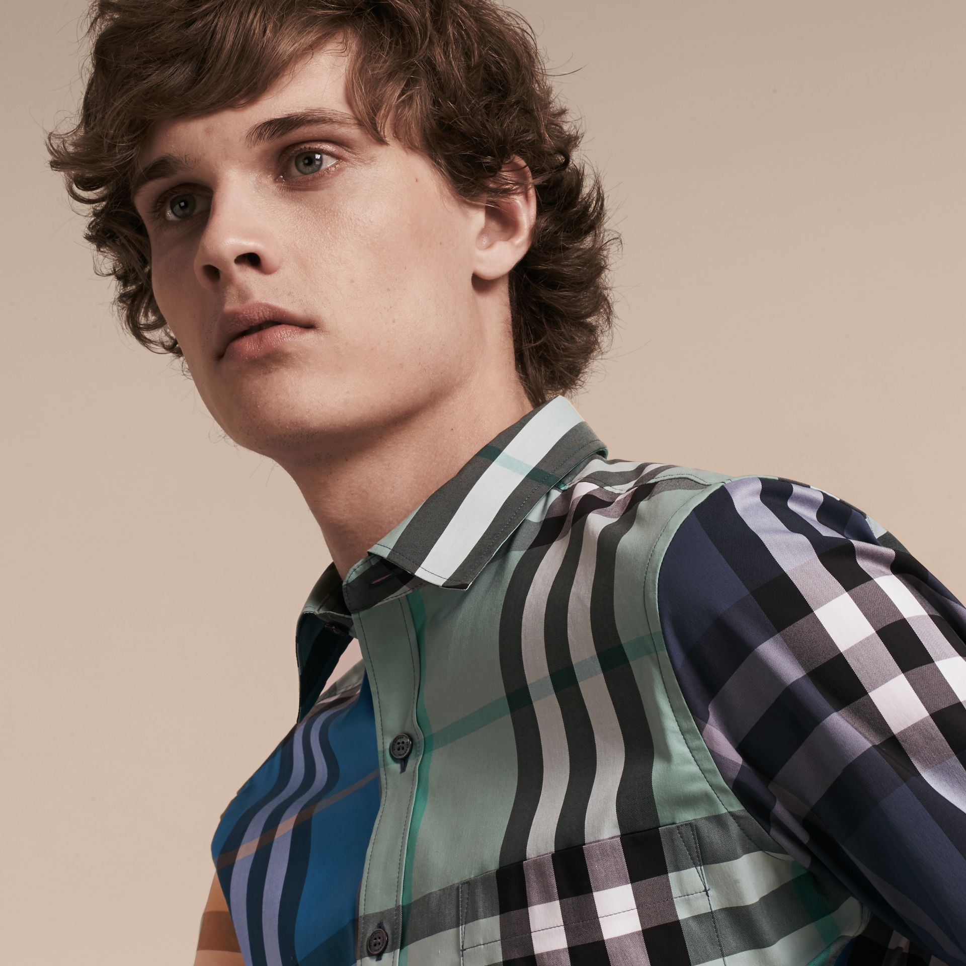 Cerulean blue Colour Block Check Cotton Blend Shirt Cerulean Blue - gallery image 5