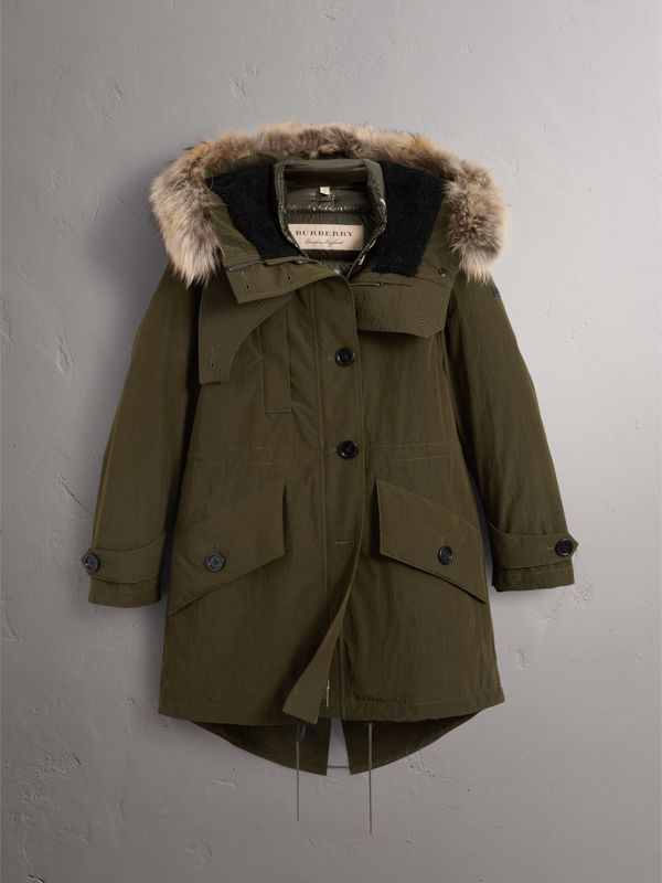 Raccoon Fur and Shearling Trim Parka with Warmer in Dark Olive - Women | Burberry - cell image 3
