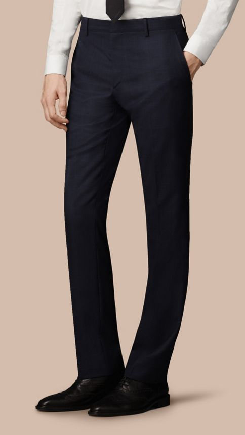 Navy Modern Fit Check Wool Part-canvas Suit Navy - Image 4