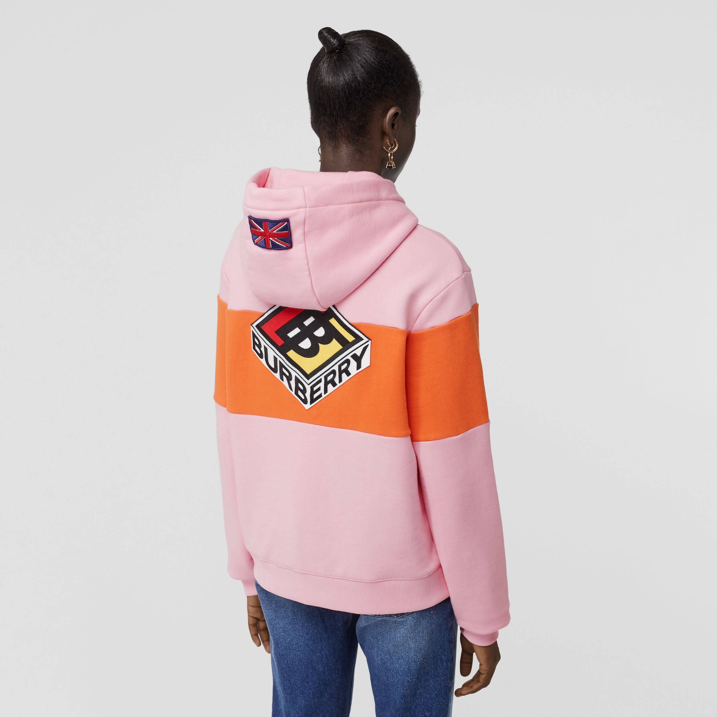 Logo Graphic Panelled Cotton Oversized Hoodie in Candy Pink - Women | Burberry - 3