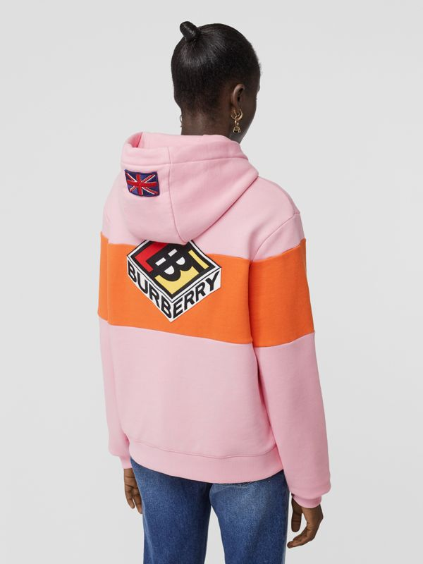 Logo Graphic Panelled Cotton Oversized Hoodie in Candy Pink - Women | Burberry - cell image 2