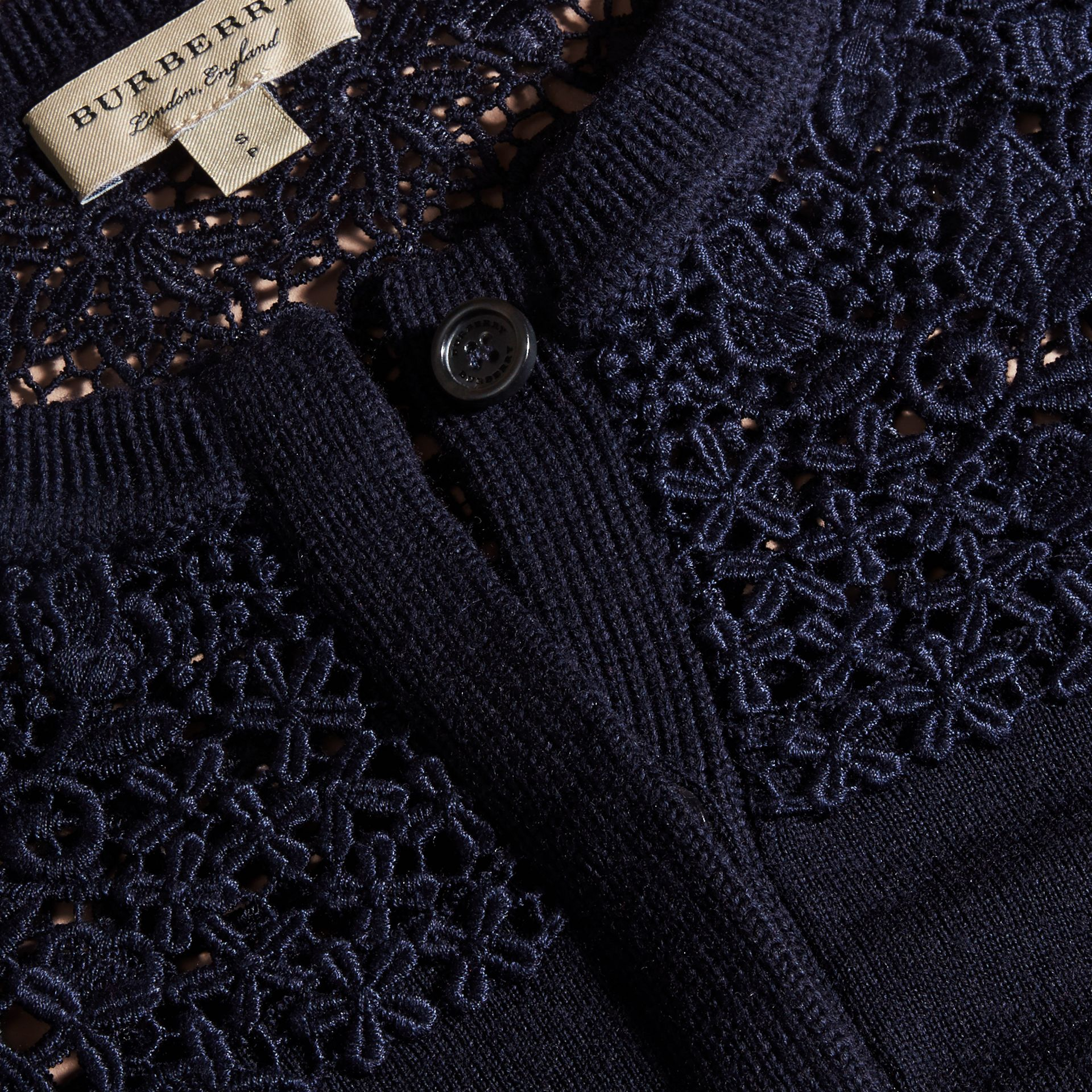 Navy Lace Yoke Merino Wool Cardigan Navy - gallery image 2