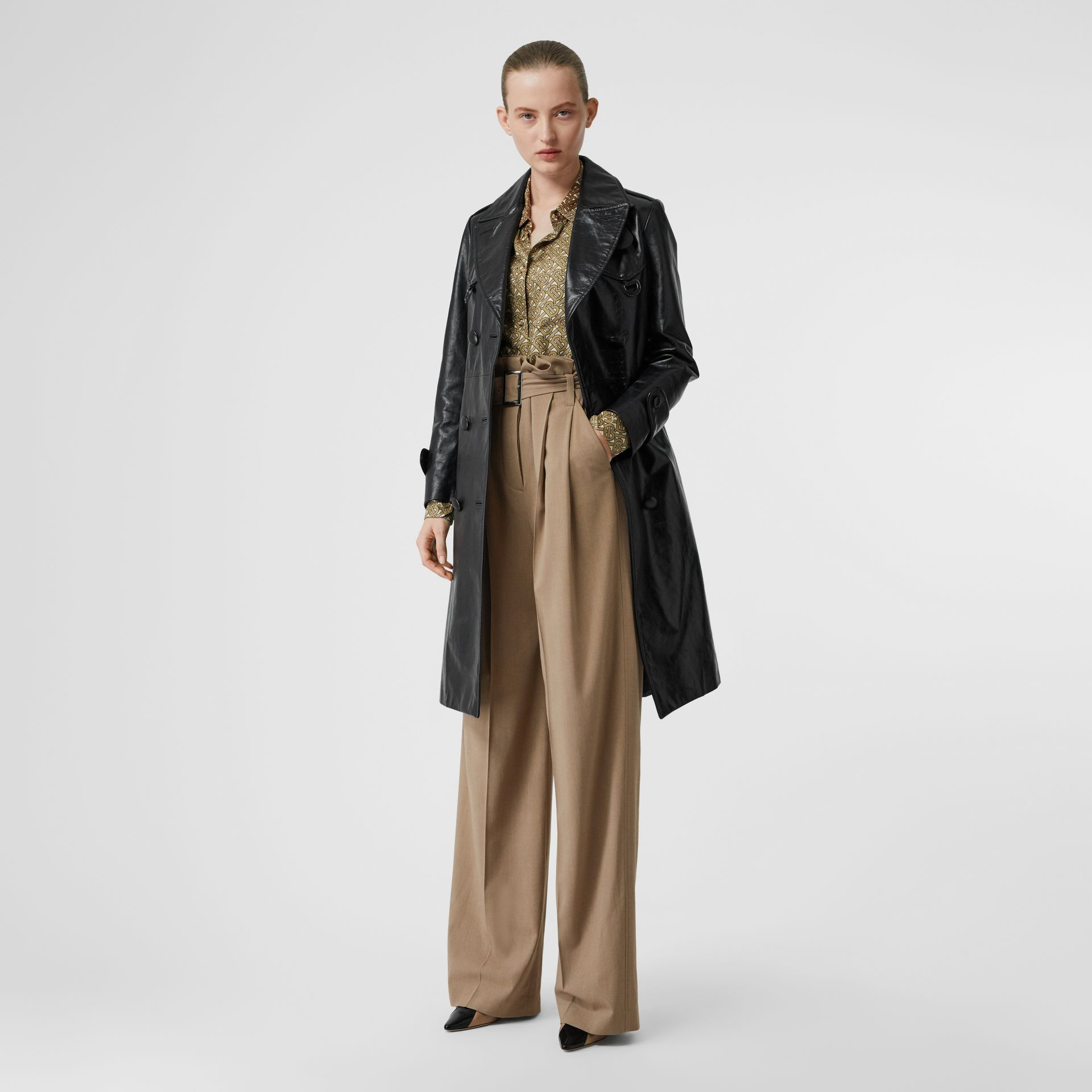 Wool Blend High-waisted Trousers in Warm Taupe - Women | Burberry Australia - gallery image 0