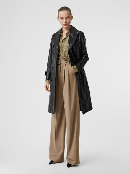 Burberry Wool Blend High-Waisted Trousers In Warm Taupe