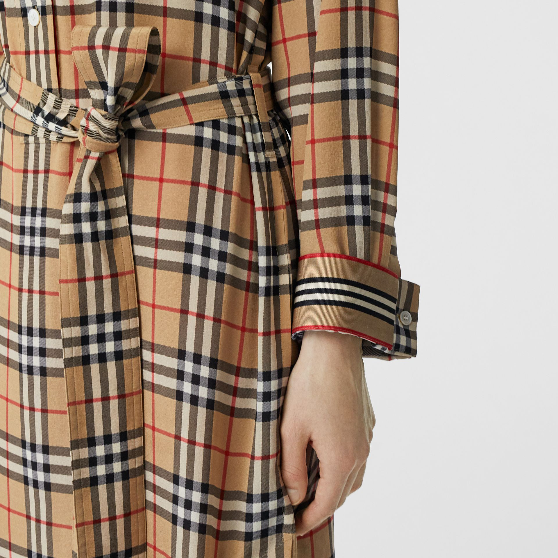Vintage Check Silk Tie-Waist Shirt Dress in Archive Beige - Women | Burberry - gallery image 4