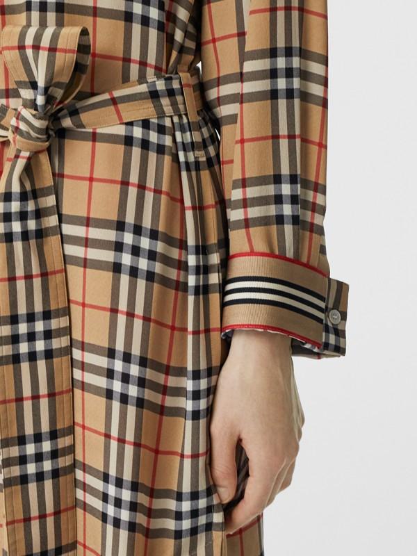 Vintage Check Silk Tie-Waist Shirt Dress in Archive Beige - Women | Burberry - cell image 3