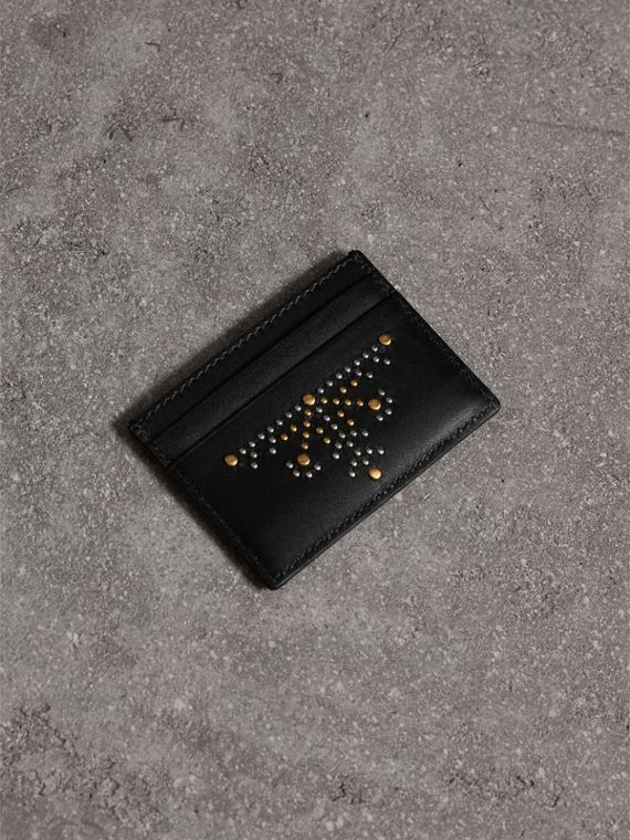 Riveted Leather Card Case in Black