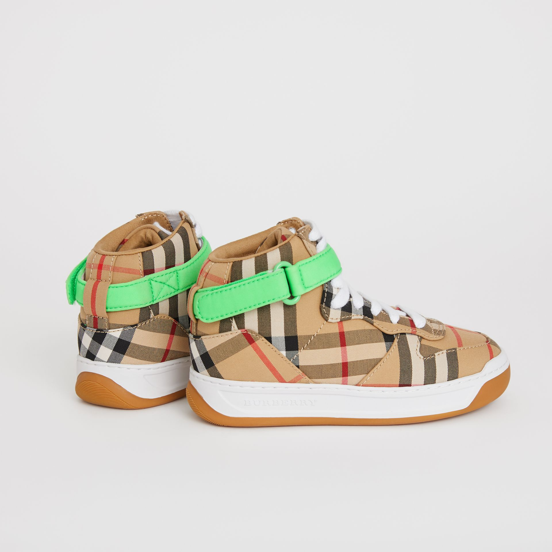 Vintage Check High-top Sneakers in Antique Yellow/neon Green | Burberry - gallery image 2
