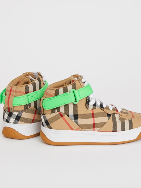 Vintage Check High-top Sneakers in Antique Yellow/neon Green | Burberry - cell image 2