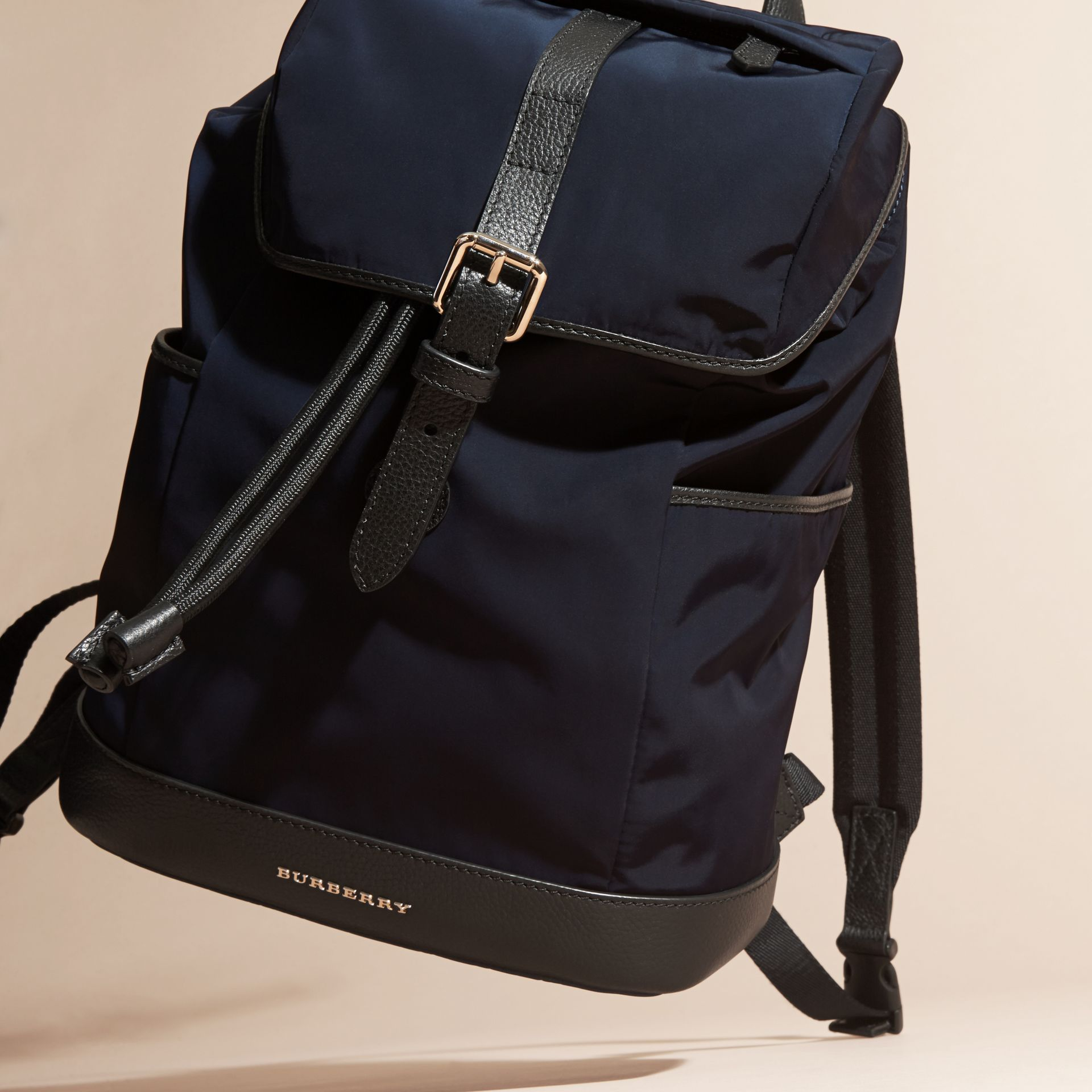 Leather Trim Lightweight Backpack in Ink | Burberry - gallery image 3