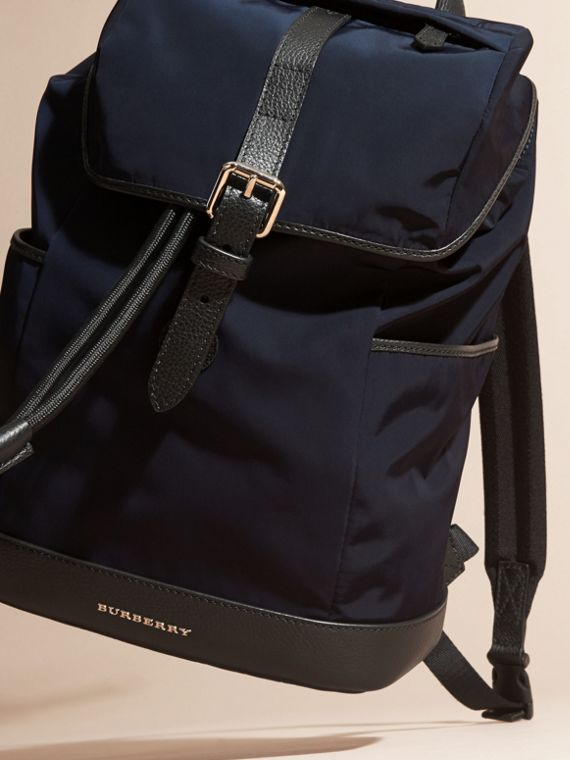 Leather Trim Lightweight Backpack in Ink | Burberry - cell image 2