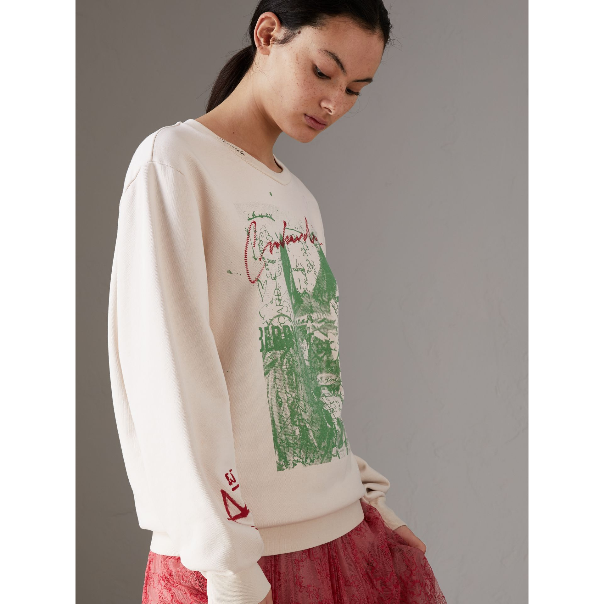 Postcard Print Cotton Sweatshirt in Pale Pink - Women | Burberry - gallery image 4