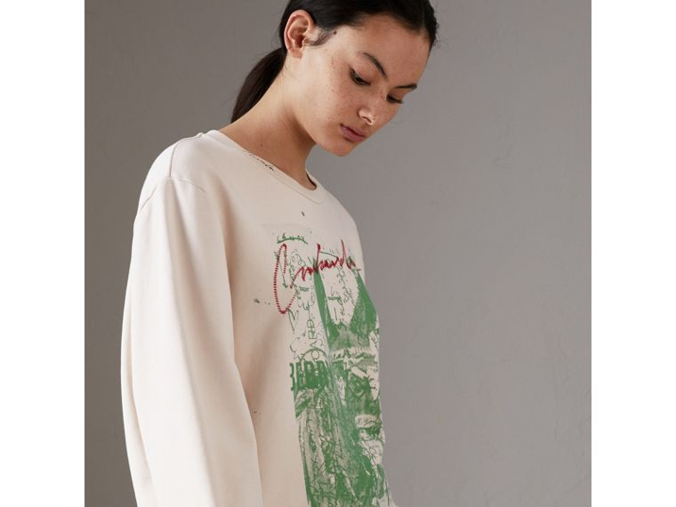 Postcard Print Cotton Sweatshirt in Pale Pink - Women | Burberry - cell image 4