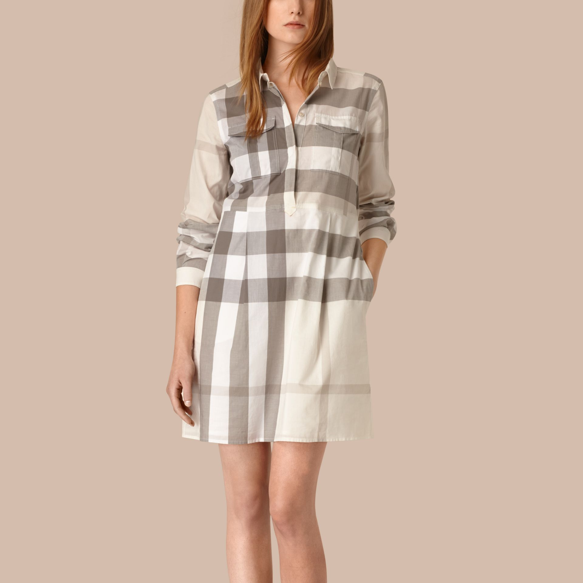 Natural Check Cotton Shirt Dress Natural - gallery image 1