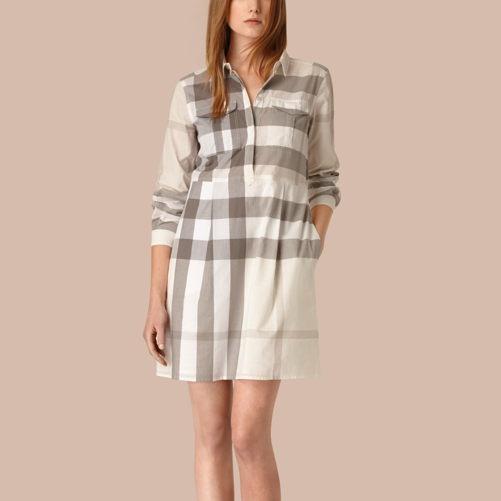 Natural Vestido camisa de algodão com estampa xadrez Natural - galeria de imagens 1