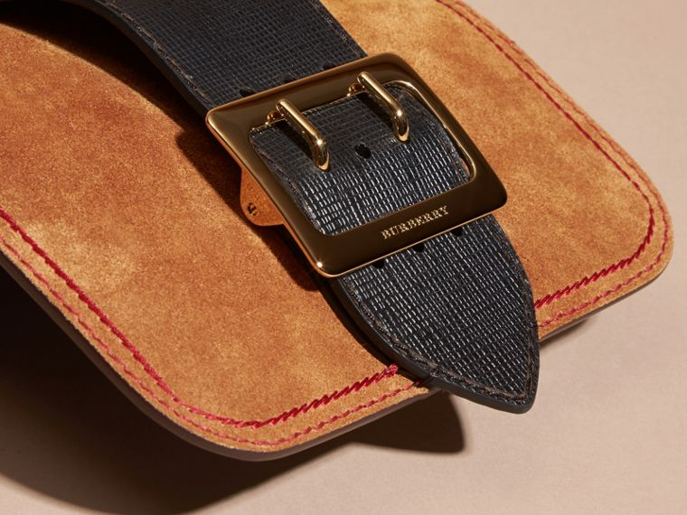 The Small Buckle Bag in Suede with Topstitching in Bright Toffee/black - cell image 1
