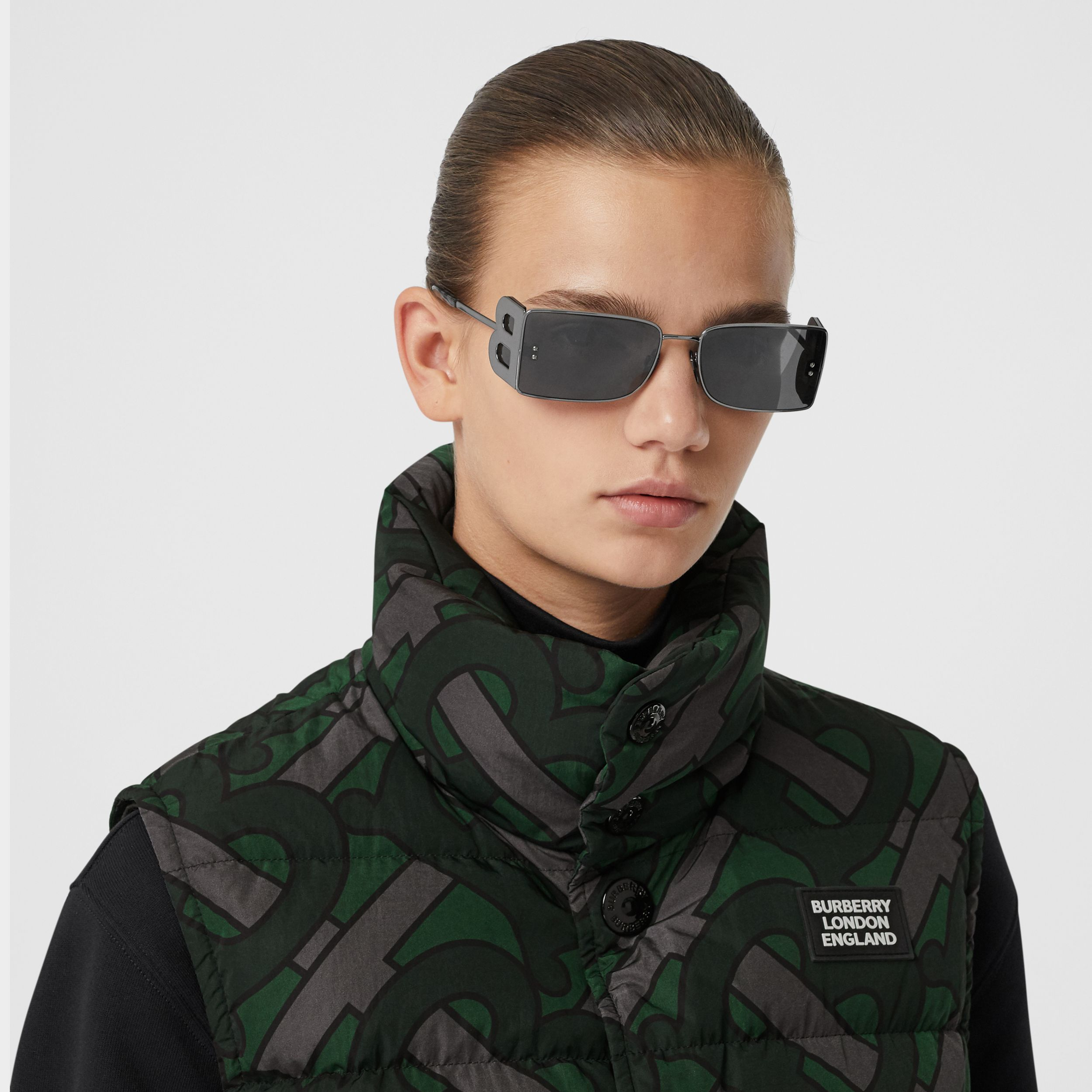 Monogram Print Puffer Gilet in Forest Green | Burberry - 2