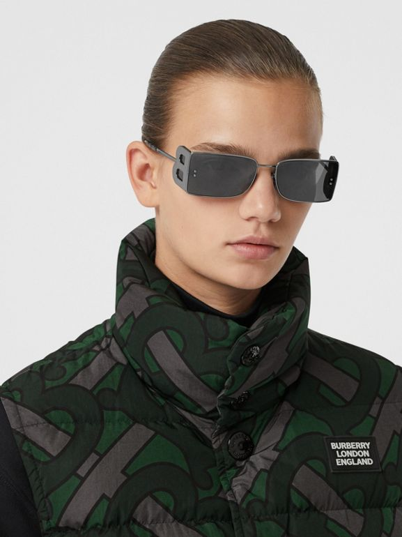 Monogram Print Puffer Gilet in Forest Green | Burberry - cell image 1