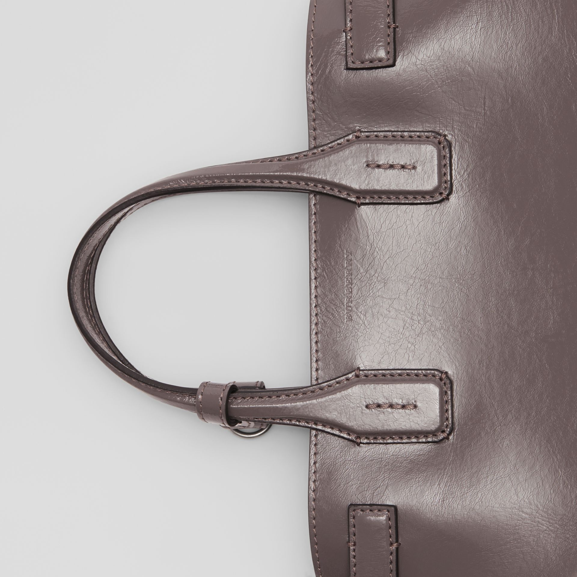 The Small Soft Leather Banner in Sepia Grey - Women | Burberry - gallery image 1