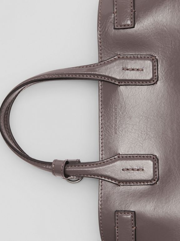 The Small Soft Leather Banner in Sepia Grey - Women | Burberry - cell image 1