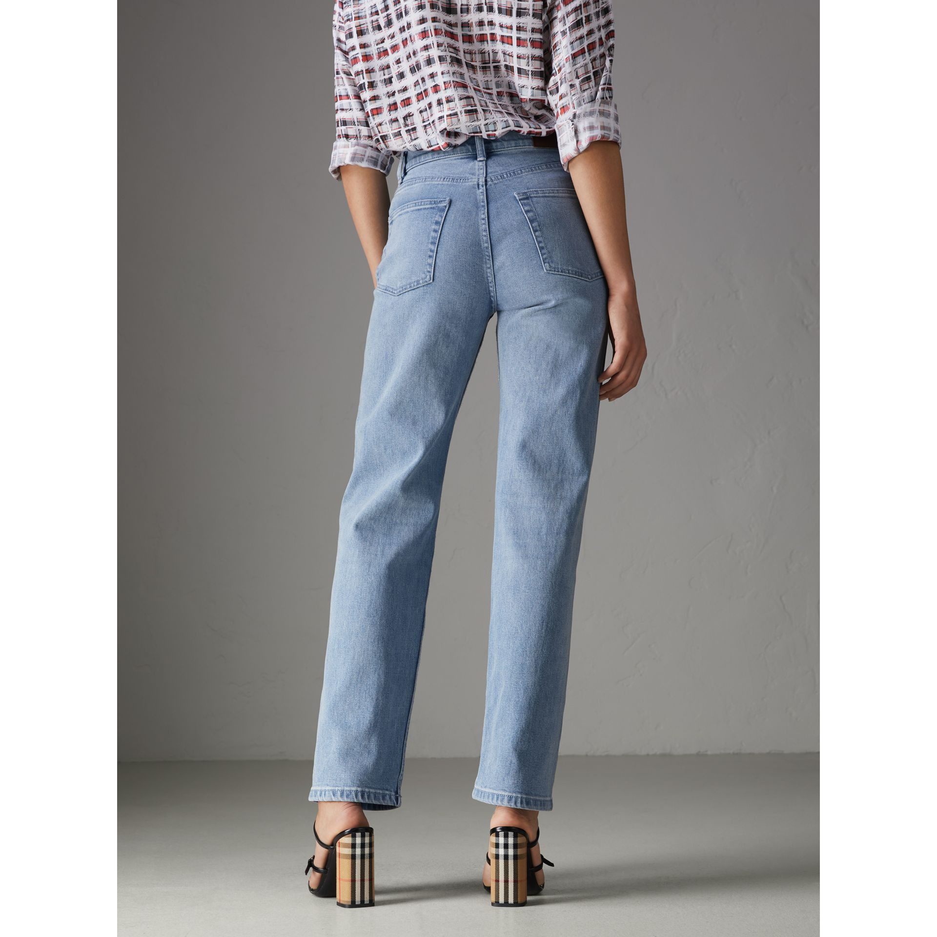Straight Fit Stonewashed Jeans in Light Stone Blue - Women | Burberry United Kingdom - gallery image 2