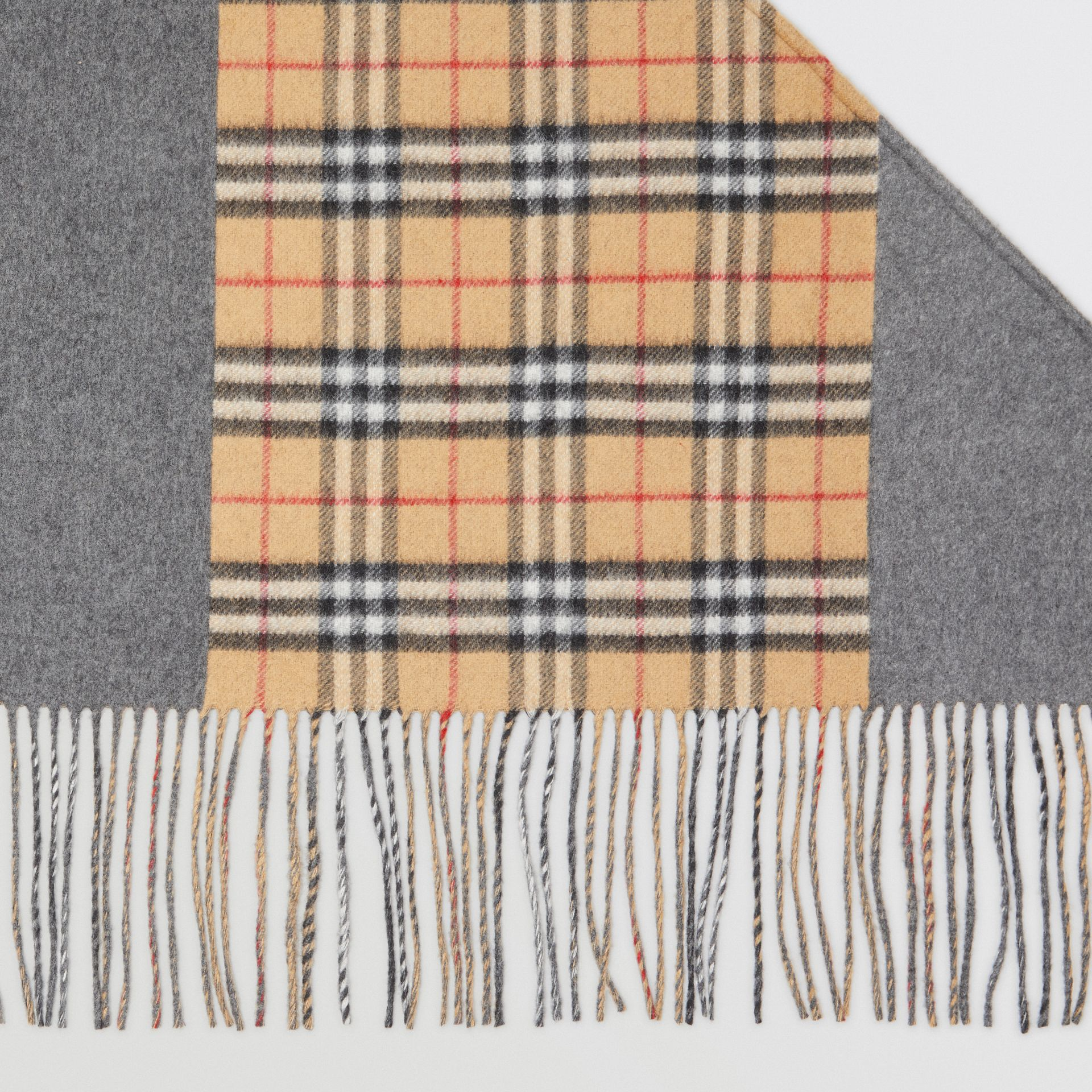 The Burberry Bandana in Vintage Check Cashmere in Pewter Grey | Burberry Australia - gallery image 1