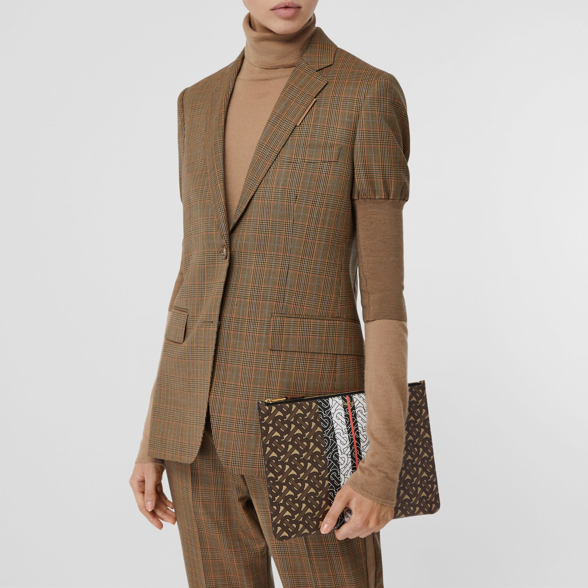 Monogram Stripe E-canvas Pouch in Bridle Brown - Women   Burberry Hong Kong S.A.R - gallery image 2