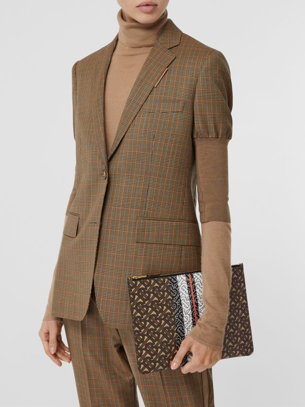 Monogram Stripe E-canvas Pouch in Bridle Brown - Women   Burberry Hong Kong S.A.R - cell image 2