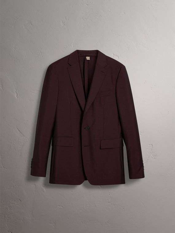 Soho Fit Wool Mohair Suit in Oxblood - Men | Burberry - cell image 3