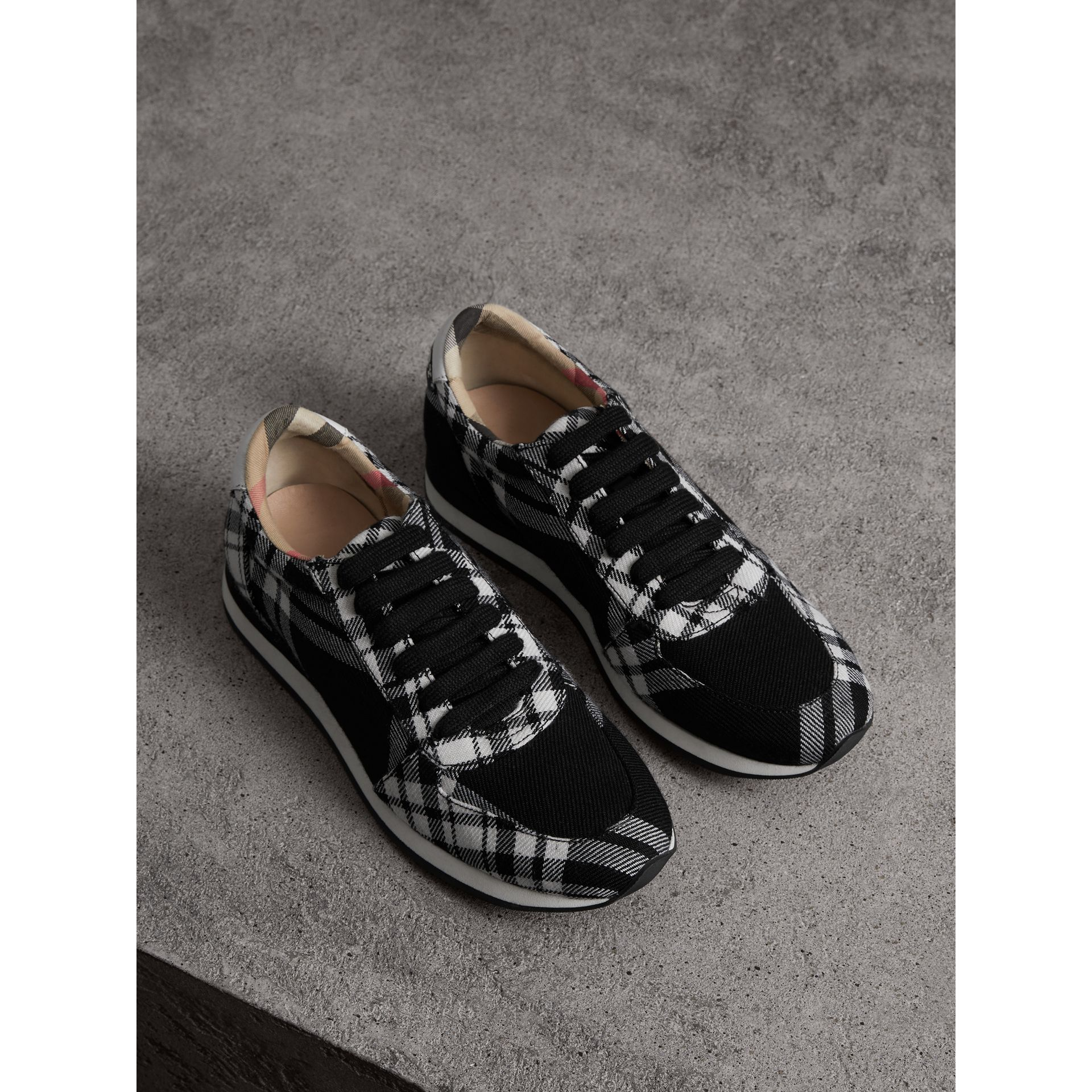 Tartan Wool Trainers in Black - Women | Burberry - gallery image 1